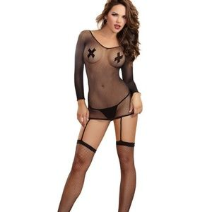 c71a8985409 Dreamgirl Intimates   Sleepwear - Dreamgirl long Sleeved Fishnet Garter  Dress